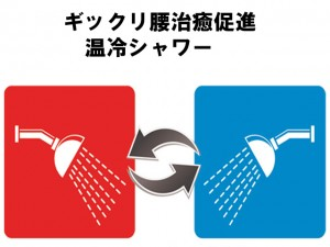 ギックリ腰治癒促進温冷シャワー